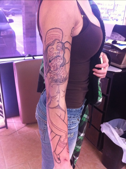 Cassandra s softball zombie disc golf sleeve beginning for Disc golf tattoos