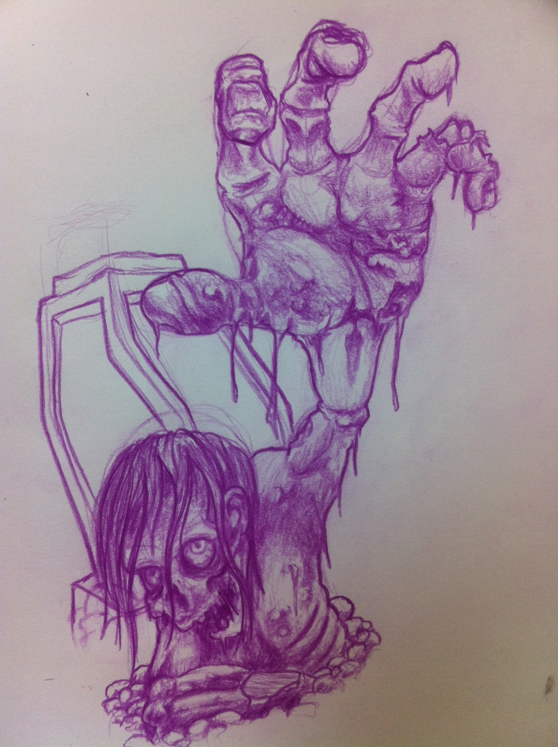Zombie sketch for a heaven/hell sleeve   chagotattoos