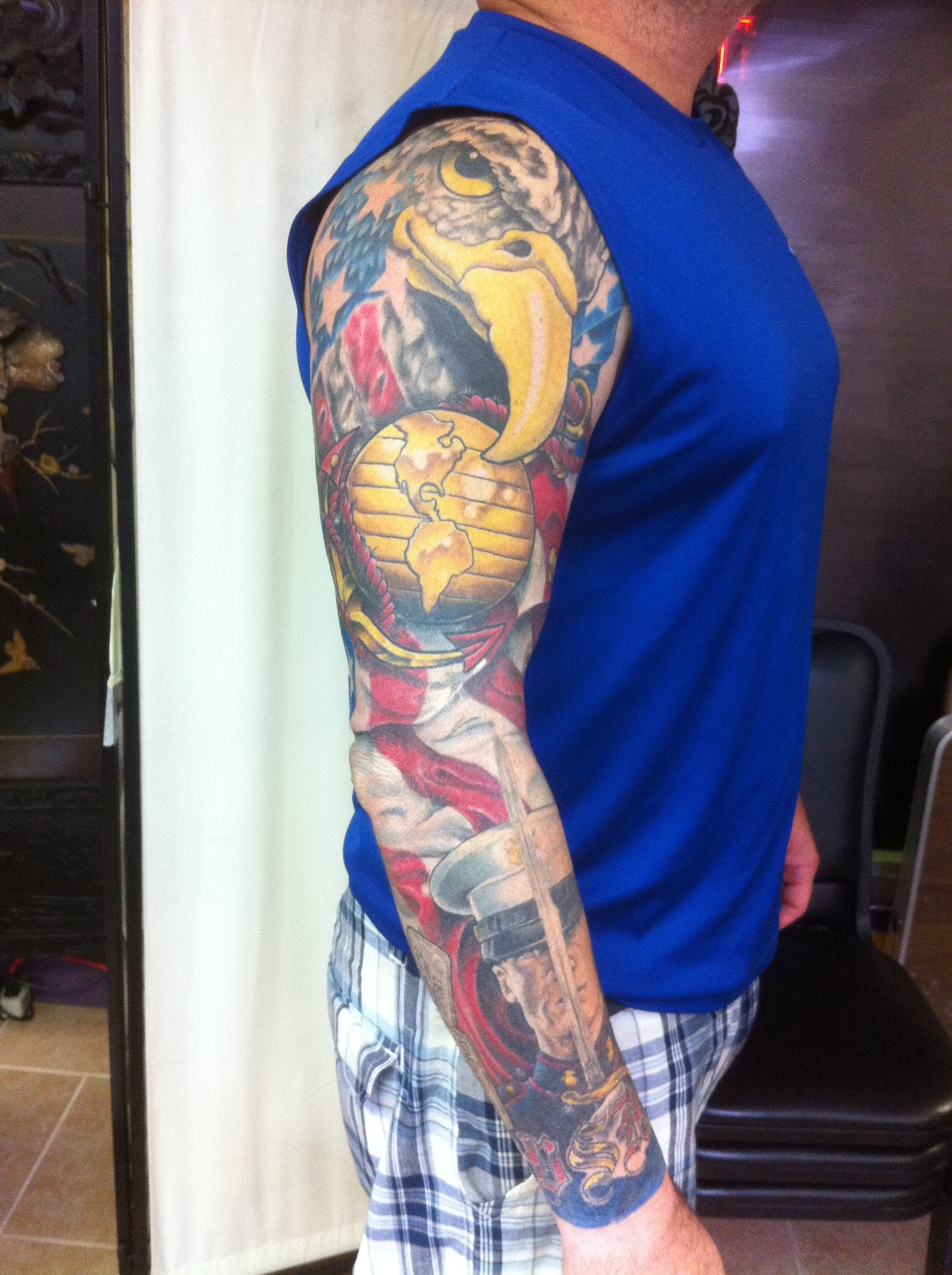 Marine corps tattoo sleeves look pictures to pin on for Usmc sleeve tattoo ideas