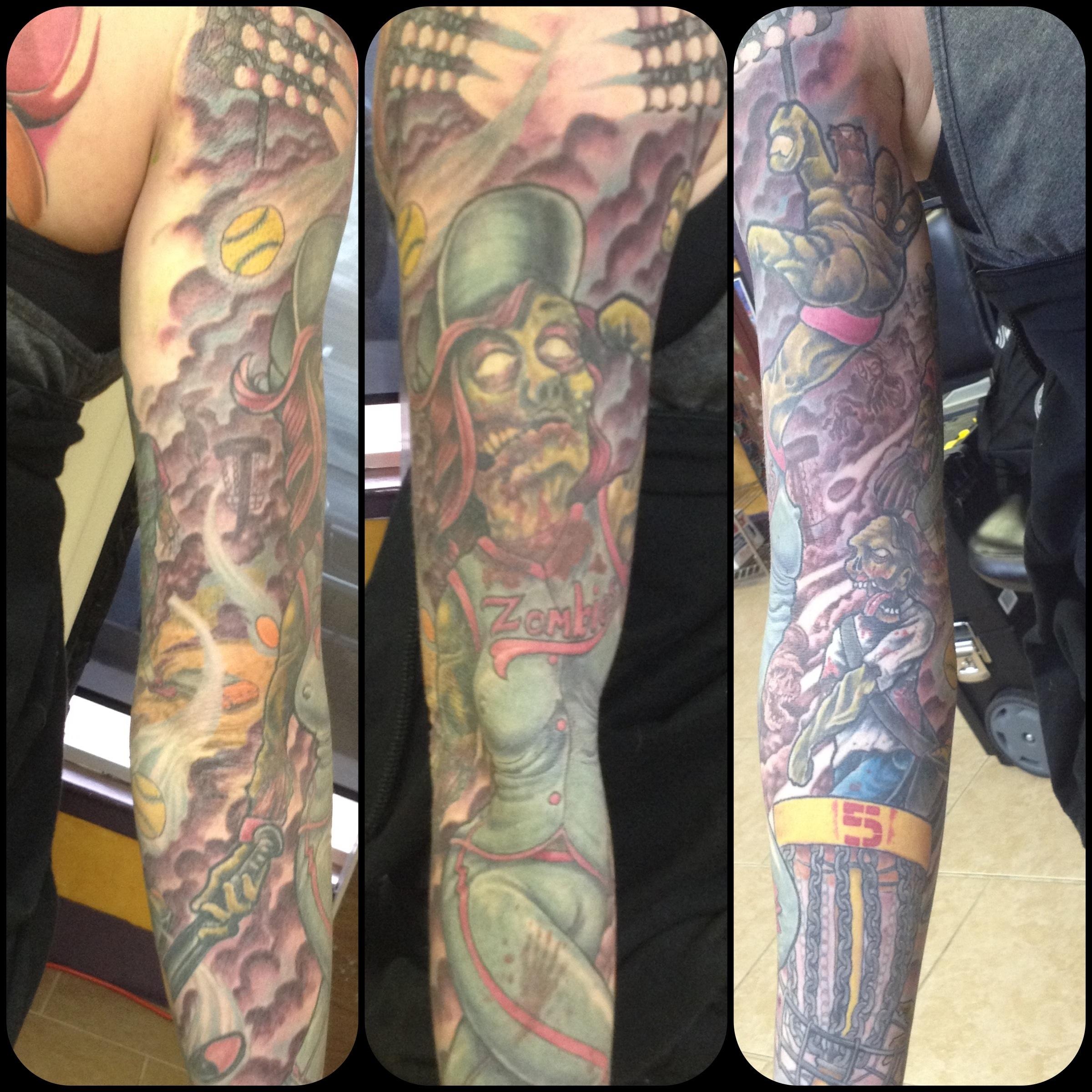 Cassandra s softball disc golf zombie sleeve progress for Disc golf tattoos