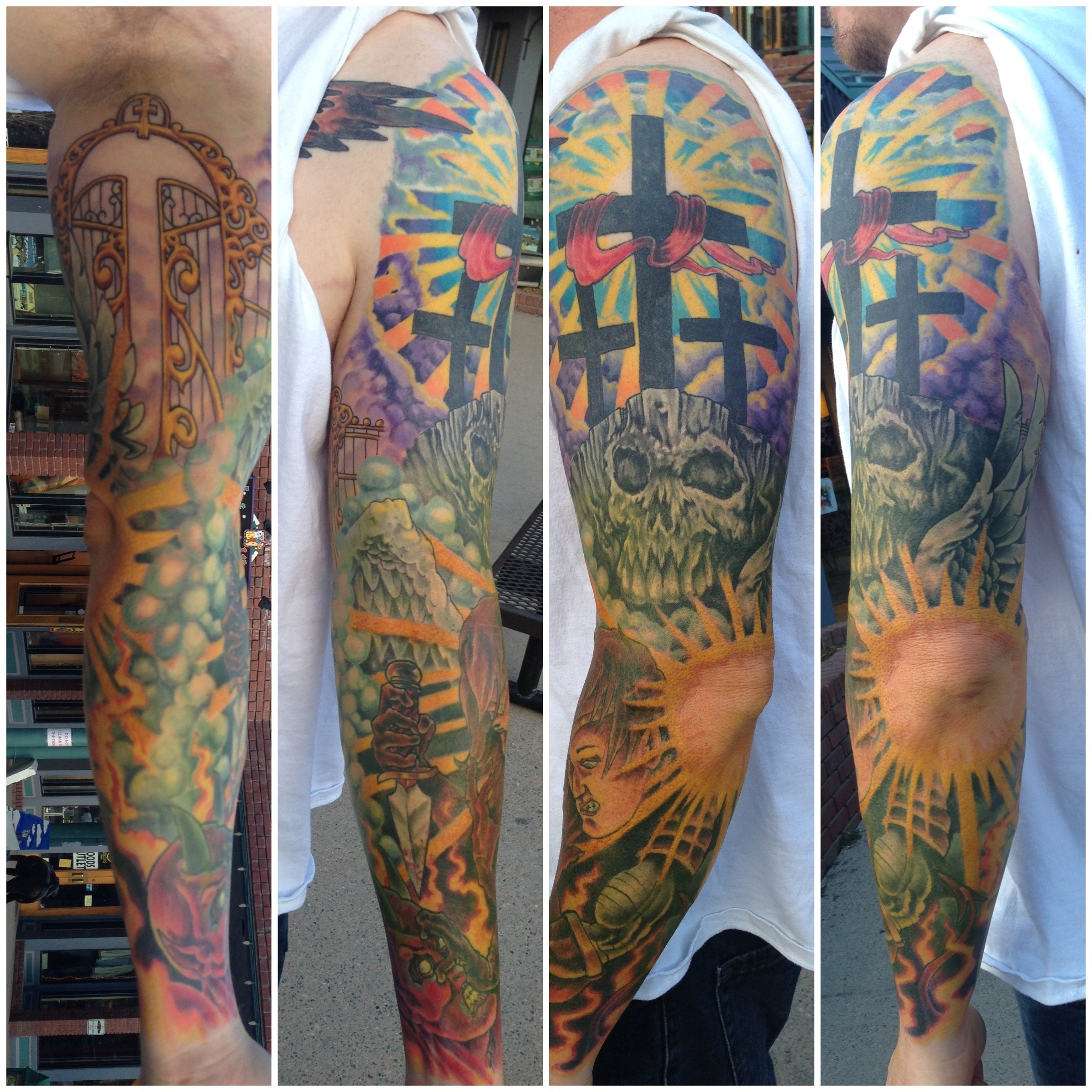 Angelic battle sleeve chagotattoos for Battle between heaven and hell tattoo